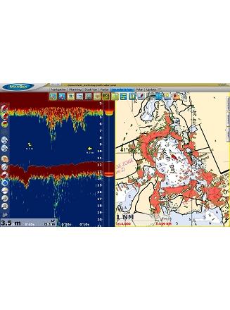 Dual Nav Radar Overlay sur carte Raster 2D et Sondeur